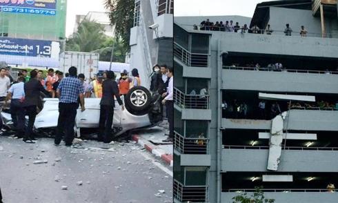 Ôtô rơi từ tầng 4 bãi đỗ, nữ tài xế tử vong