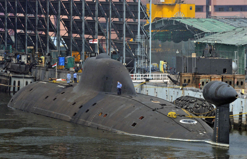 INS Arihant submarine is pictured at the naval warehouse in the southern Indian city of Visakhapatnam, in this November 18, 2014