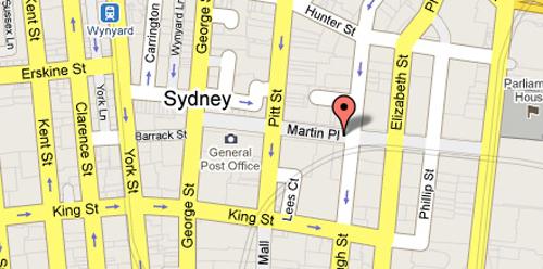 Bản đồ vị trí khu Martin Place ở Sydney. Đồ họa:www.beautygrace