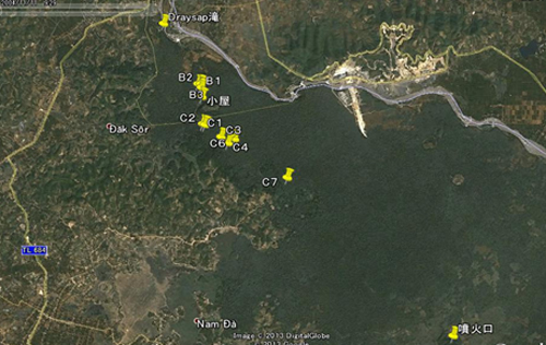 Vị trí miệng núi lửa Chư K'luk và các hang động có tên dự kiến từ B1 đến B3 và C1 đến C7 trên ảnh vệ tinh