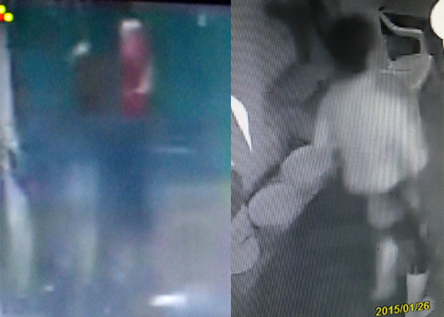 Hình ảnh được cho là nghi can ở trần, mặc quần short (bên trái là ôm bụng máu) chạy ra khỏi hẻm. Ảnh: Camera người dân ghi lại