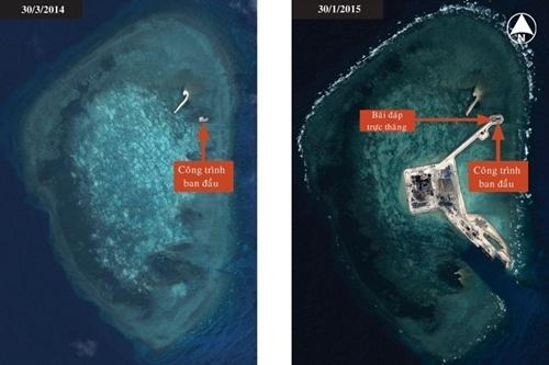 Hình trái là một công trình Bắc Kinh xây dựng trên bãi đá Gaven thuộc quần đảo Trường Sa vào cuối tháng 3 năm ngoái. Trong hình phải, công trình này đã được nối với một đảo nhân tạo mới thông qua một con đường đắp cao. Ảnh: IHS Jane's