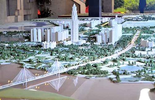 1: Mô Mô hình quy hoạch trục Nhật Tân - Nội Bài. Ảnh: TH