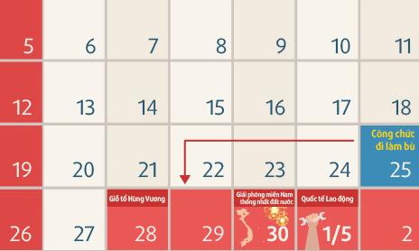 Công chức nghỉ 6 ngày dịp 30/4 và 1/5