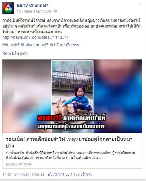 nuoc ngoai 9822 1426907474 Bé gái Việt khóc bên chú chó bị giết thịt khiến cộng đồng rơi lệ
