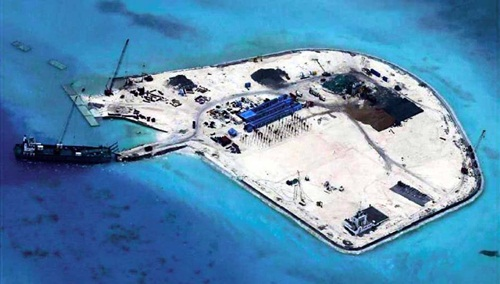 Newly constructed facilities on an artificial island on Johnson South Reef in the Spratly Islands in the South China Sea, on July 29 (Provided by Philippine military sources)