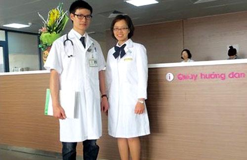 Đồng phục bác sĩ tại Bệnh viện Lão khoa.