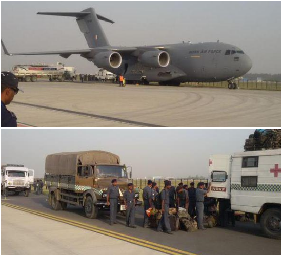 One C-17 Globemaster III has just taken off carrying 96 NDRF personnel and 15 tonnes of load.