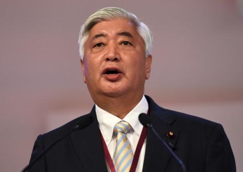 Bộ trưởng Quốc phòng NhậtGen Nakatani phát biểu tại Đối thoại Shangri-la ở Singapore hôm nay. Ảnh: AFP