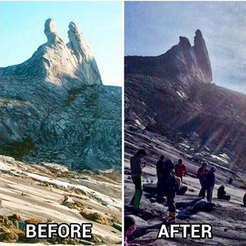 Động đất mạnh phávỡ một trong hai đỉnh