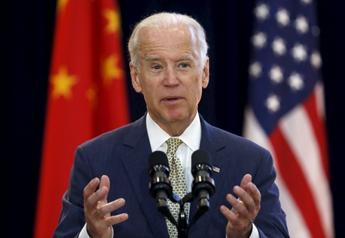 REFILE - CORRECTING TYPO U.S. Vice President Joe Biden delivers remarks at the Strategic and Economic Dialogue (S&ED) at the State Department in Washington June 23, 2015. More than 400 Chinese officials are in Washington for annual talks under the wide-ranging Strategic and Economic Dialogue (S&ED) framework, which will involve eight U.S. cabinet secretaries. REUTERS/Yuri Gripas