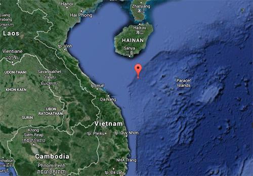Vị trí mới của giàn khoan Hải Dương 981. Đồ họa: Google Maps.