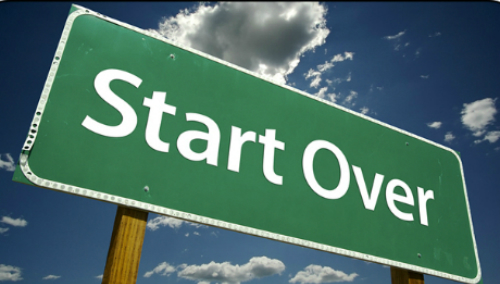 Start over: To begin something