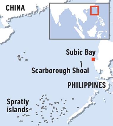 Vị trí vịnh Subic và bãi cạn Scarborough. Đồ họa: The Strait Times.