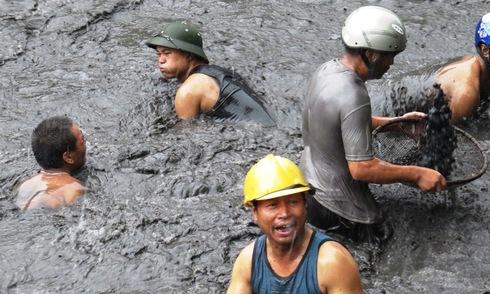 Ngụp dưới nước lũ đen ngòm vớt than bất chấp nguy hiểm