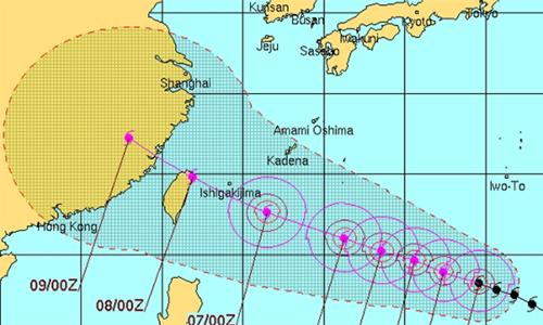 Đường đi dự kiến của siêu bão Soudelor. Đồ họa: JTWC