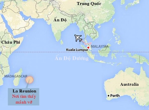 Vị trí mảnh vỡ MH370 được tìm thấy.
