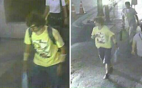 Images of a man suspected to be a bomb planter showing him with a backpack and without it captured on a CCTV camera. (Photo supplied by the metropolitan police.