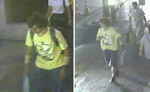 Nam thanh niên bị tình nghi gài bom trong hai thời điểm đeo balô đen và xuất hiện không có balô trong camera theo dõi. Ảnh chụp màn hìnhdo cảnh sát Thái Lan cung cấp. Ảnh:BangkokPost
