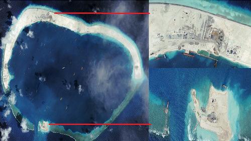 Hình ảnh cho thấy Trung Quốc cải tạo đá Vành Khăn hôm 8/9. Phía trên là công trình ở bãi phía bắc, phía dưới là lối vào bãi phía nam. Ảnh: AMTI/CSIS /DigitalGlobe.