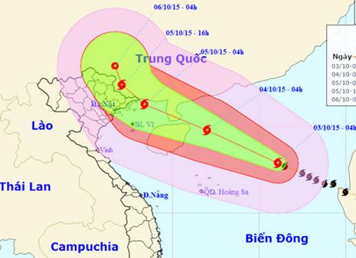 Bão Mujigae tăng cấp, hướng đến vịnh Bắc Bộ 1