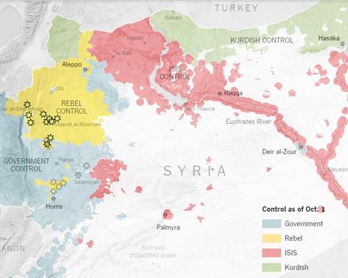 Khu vực các lực lượng kiểm soát ở Syria: màu hồng của IS, màu xanh lá của người Kurd, màu vàng của phe nổi dậy, màu xanh da trời của chính phủ Syria. Đồ họa: NewYorkTimes