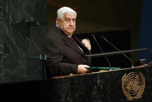 Ngoại trưởng Syria Walid al-Moualem phát biểu tại Đại Hội đồng Liên Hợp Quốc ở New York, Mỹ. Ảnh: AP