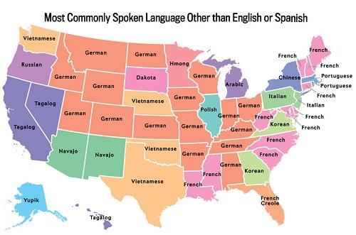 """Bản đồ ngôn ngữ phổ biến nhất tại Mỹ, không tính tiếng Anh và Tây Ban Nha. Số liệu tổng hợp từ """"Nghiên cứu Cộng đồng nước Mỹ"""" do Cục Thống kê dân số thực hiện. Ảnh:Ben Blatt/Slate"""