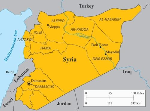 Vị trí các tỉnh ở Syria. Đồ họa: nybooks.com.