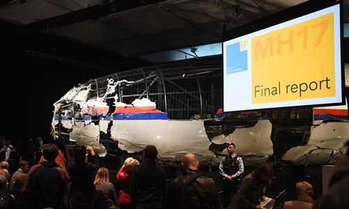 The wreckage of the Malaysia Airlines flight MH17 is exhibited during a presentation of the final report on the cause of the its crash at the Gilze Rijen airbase October 13, 2015. Photograph: Emmanuel Dunand/AFP/Getty Images