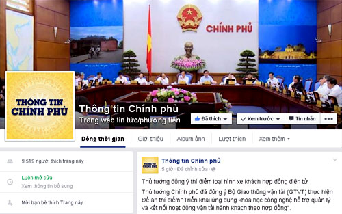 Chính phủ tham gia Facebook