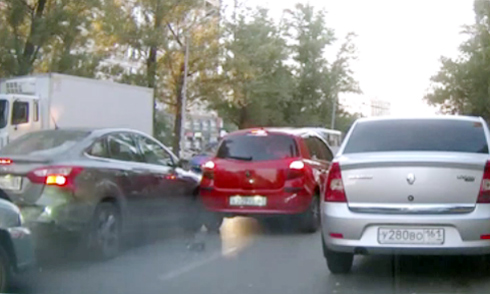 Hàng loạt ôtô đâm nhau vì cố tránh chim bồ câu 1