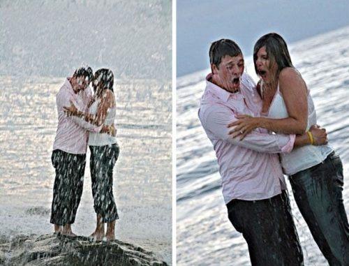 Cứ ngỡ sẽ là nụ hôn lãng mạn trong màn mưa, đâu ngờ...