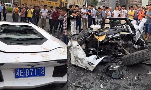Lamborghini Aventador nát tươm vì đâm xe tải 1