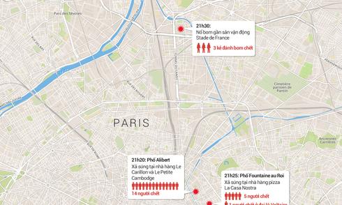Chi tiết các vụ tấn công ở Paris
