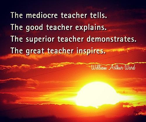 The mediocre teacher tells. The good teacher explains. The superior teacher demonstrates. The great teacher inspires. (William Arthur Ward) Người thầy bình thường nói. Người thầy tốt giải thích. Người thầy giỏi diễn tả. Người thầy lớn truyền cảm hứng.