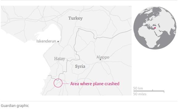 Vị trí máy bay rơi. Đồ họa: Guardian