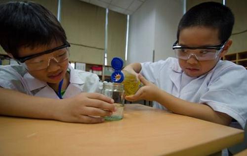 Một thí nghiệm tìm hiểu về tỷ trọng giữa nước và dầu trong lớp học STEAM.