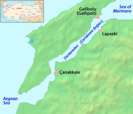 Vị trí Canakkale ở bờ biển phía nam eo , nơi tàu ngầm Thổ Nhĩ Kỳ và tàu vận tải thuộc hải quân Nga chạm trán. Đồ hoạ: Sputnik