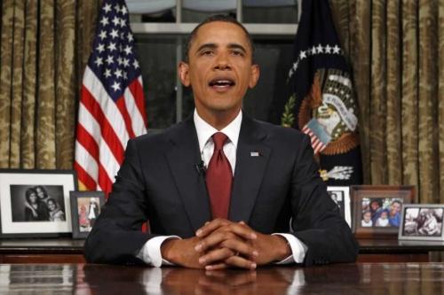 Tổng thống Mỹ Barack Obama trong một bài phát biểu tại phòng Oval. Ảnh: Reuters