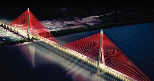 Mô hình thiết kế hệ thống đèn chiếu sáng nghệ thuật Cầu Cần Thơ. Ảnh: Cửu Long