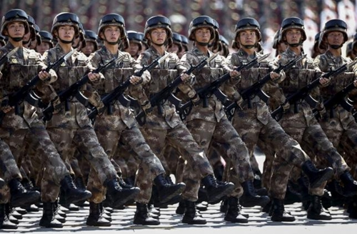 Chinese troops march during the military parade marking the 70th anniversary of the end of World War Two, in Beijing, China, September 3, 2015.