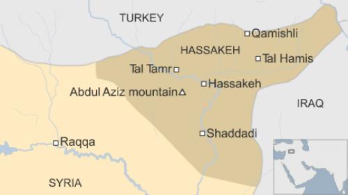 Vị trí tỉnh Hasaka (Hassakeh) ở Syria. Đồ hoạ: BBC