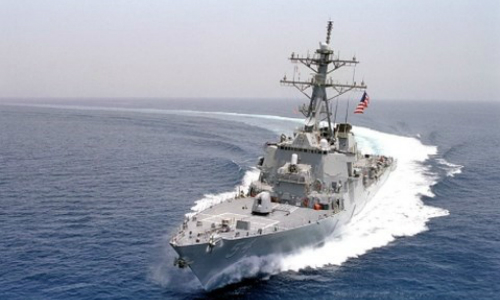 Tàu USS Lassen Mỹ điều vào phạm vi 12 hải lý quanh đảo nhân tạo Trung Quốc xây trái phép ở Trường Sa. Ảnh:Navsource.org