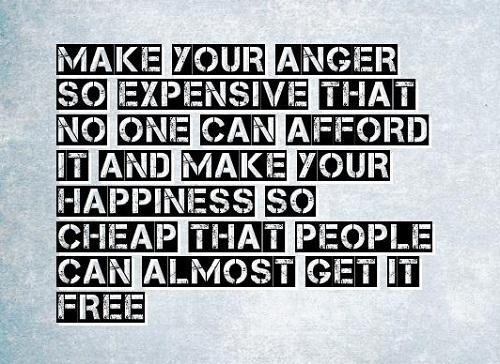 Make your anger so expensive that no one can afford it and make your happiness so cheap that people can almost get it free. Hãy khiến những cơn giận dữ của bạn đắt đỏ đến mức không ai có được, và hạnh phúc trở nên rẻ đến mức mọi người đều đạt được gần như miễn phí.