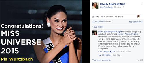 Ông Aquino vừa đăng tải hình ảnh và gửi lời chúc mừng đến chiến thắng củaWurtzbach trên trang Facebook cá nhân. Ảnh: Facebook