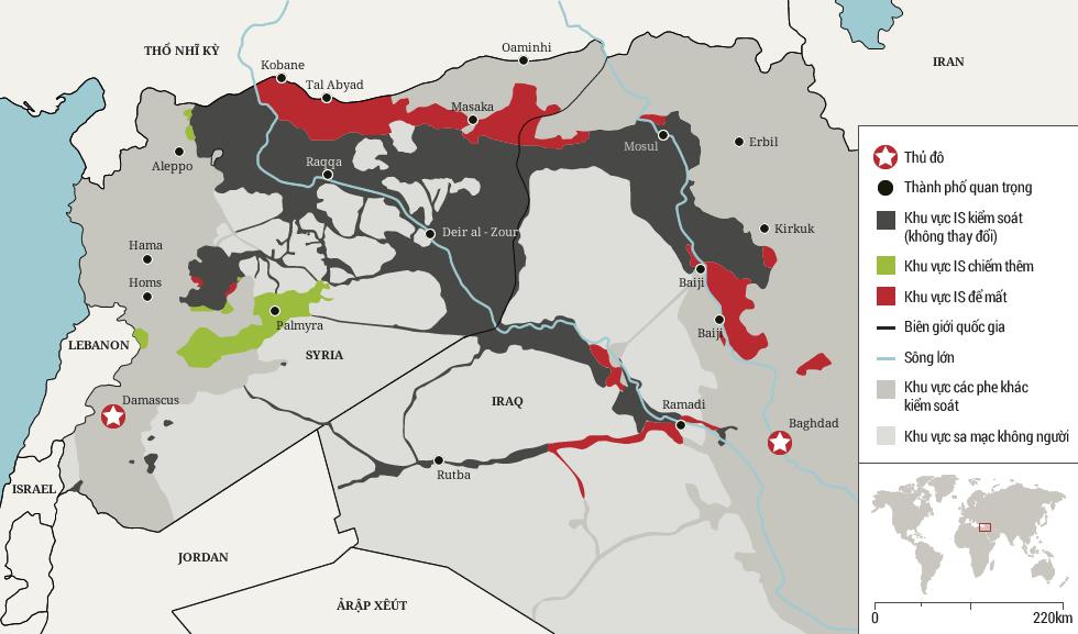 Lãnh thổ IS xâm chiếm trong năm 2015