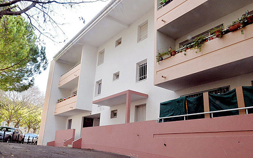 The 25-year-old Muslim convert and her 34-year-old partner lived on the first floor of this modern apartment building Photo: Photoshot/Midi Libre