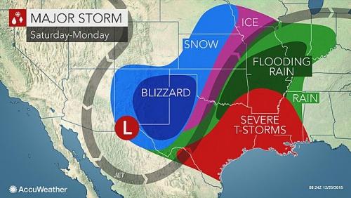 Dự báo thời tiết cuối tuần này ở Mỹ cho thấy các khu vực sẽ có bão, tuyết