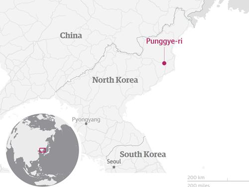 Vị trí bãi thử hạt nhân Punggye-ri. Đồ họa: Guardian.